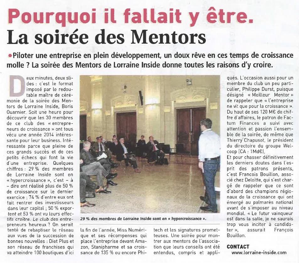 soirée des mentors - article JDE