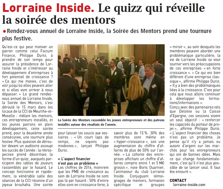 Article LI - Soirée des mentors 2017